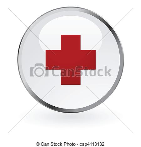 Red Cross clipart paramedic Glossy Red csp4113132 button vector