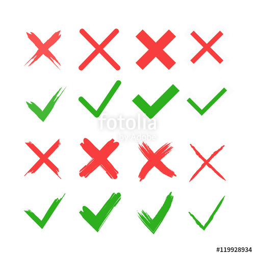 Red Cross clipart right wrong Yes applications tick No cross