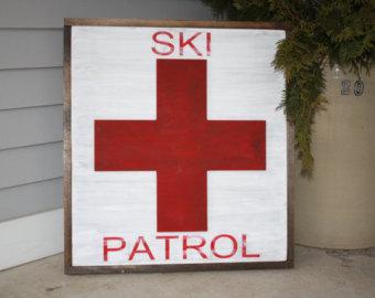 Red Cross clipart ski patrol And Distressed White Ski Framed