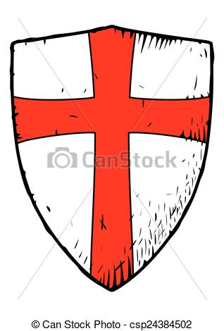 Red Cross clipart vector Red of shield of red