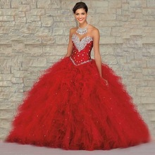 Red Dress clipart ball gown Of Red Quinceanera Years Quinceanera