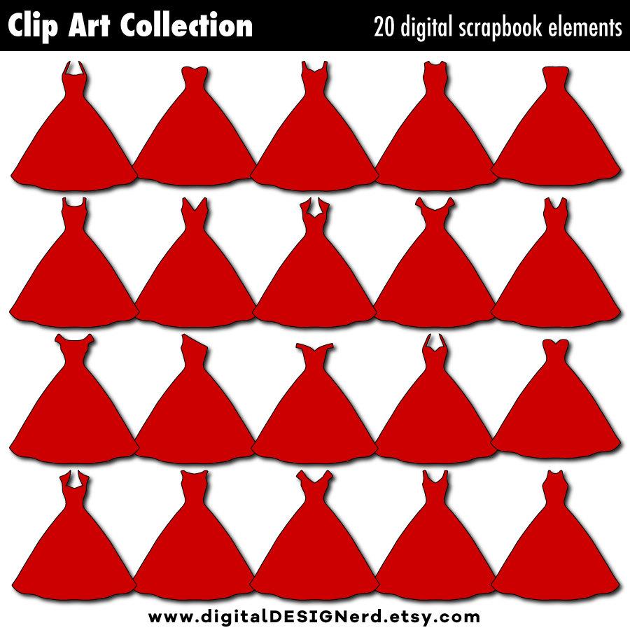 Red Dress clipart ball gown Digital (20 Clip Art Princess