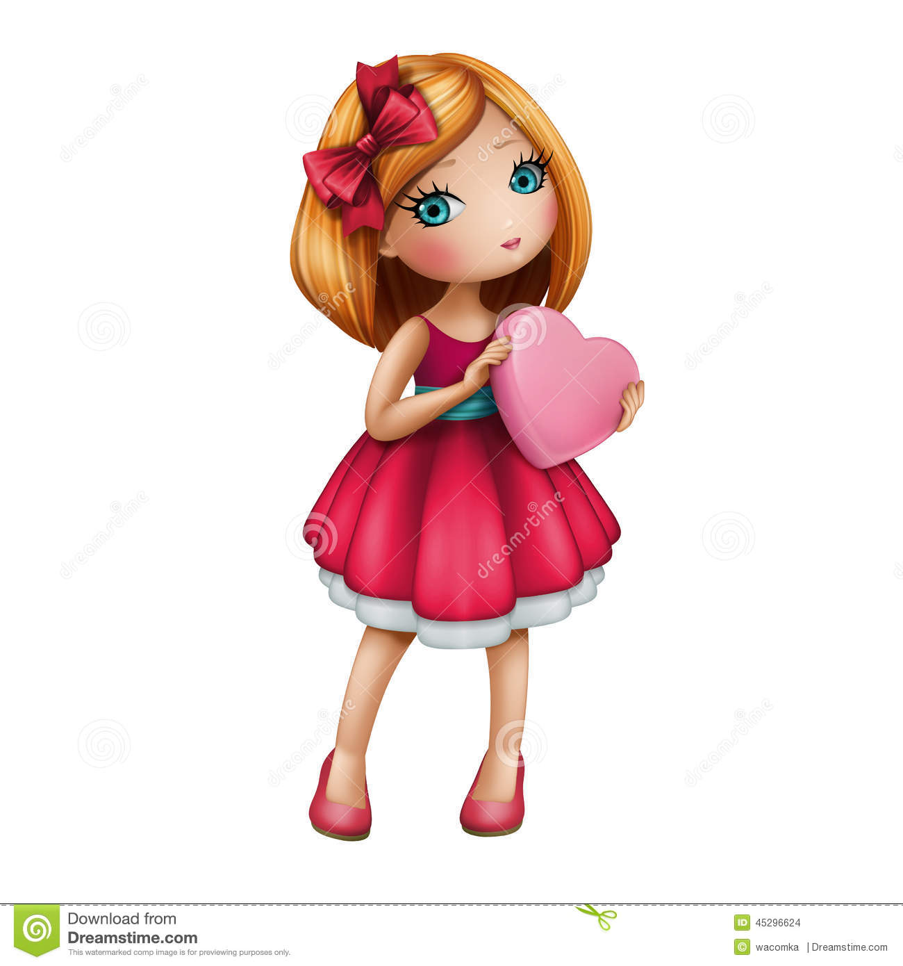 Red Dress clipart cartoon person Cute isolated us girl heart