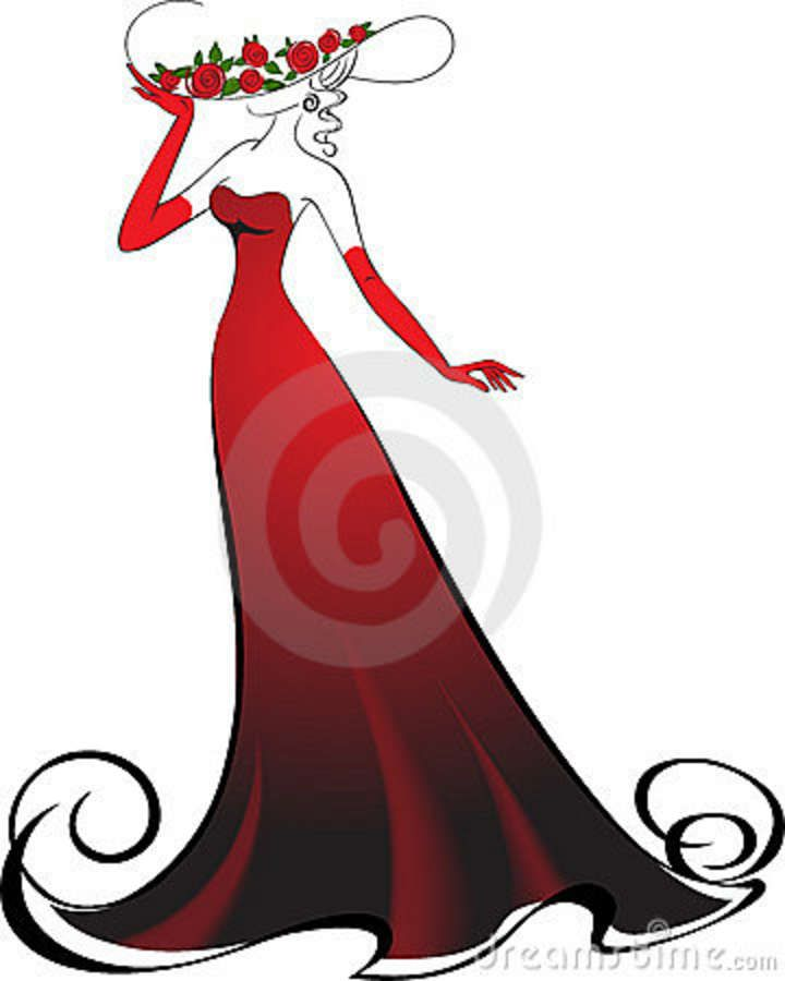 Red Dress clipart classy lady #2
