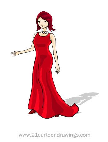 Red Dress clipart elegant dress – Clipart clipart dress prom