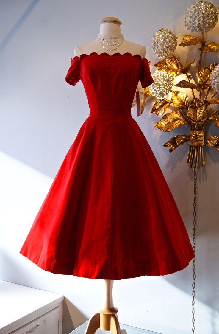 Red Dress clipart fancy clothes Dress 1950's 10+ Vintage Velvet