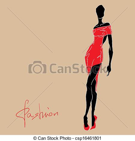 Red Dress clipart fashion dress Csp16461801 in red woman csp16461801