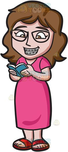 Book clipart she reads A Happy Girl Woman Cartoon
