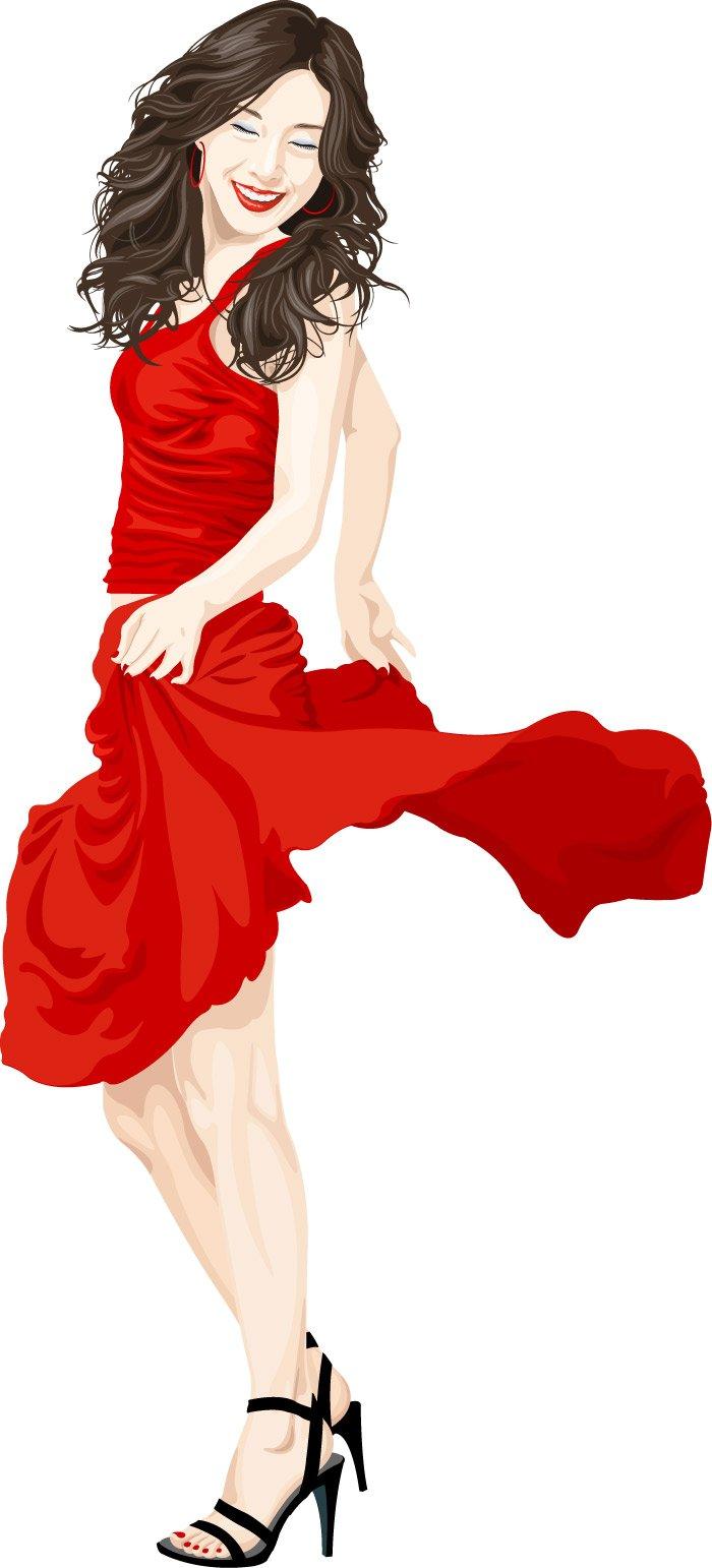 Red Dress clipart pretty lady Cartoon  material cartoon vector