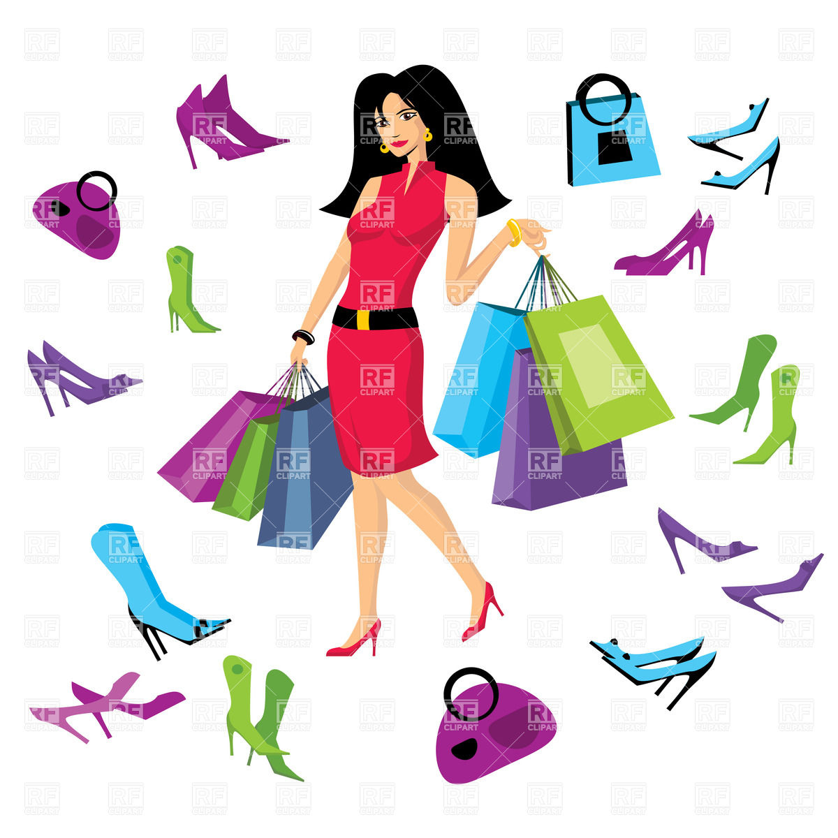 Red Dress clipart pretty lady Bag Free Clipart Clipart Download