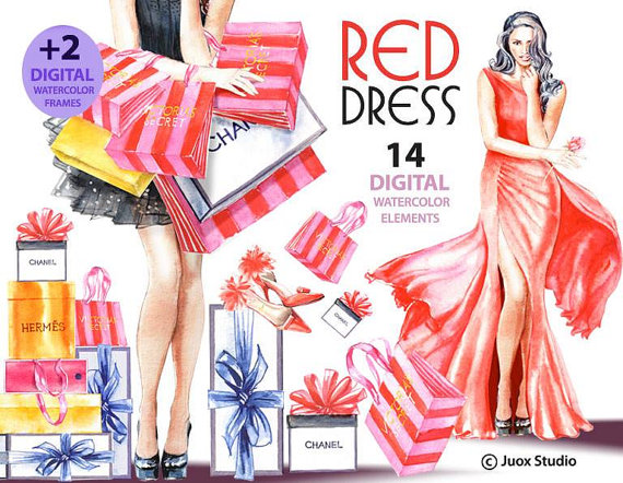 Red Dress clipart pretty lady Dress Red Digital on Day