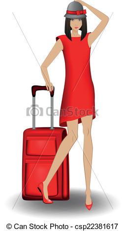 Red Dress clipart she Goes girl Vector journey girl