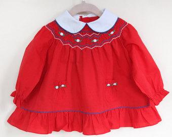 Red Dress clipart smocked Vintage Smocked Red Smocked Dress