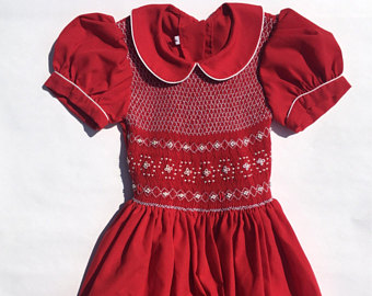 Red Dress clipart smocked SALE 4/Peter Christmas Collar/Christmas Size