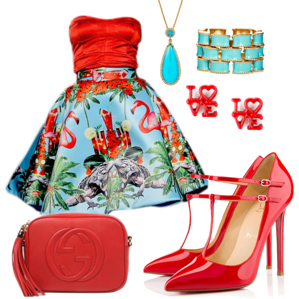 Red Dress clipart summer outfit #turquoise designer Colorful #red Colorful