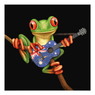 Red Eyed Tree Frog clipart australian Zazzle Announcements Card Guitar Tree