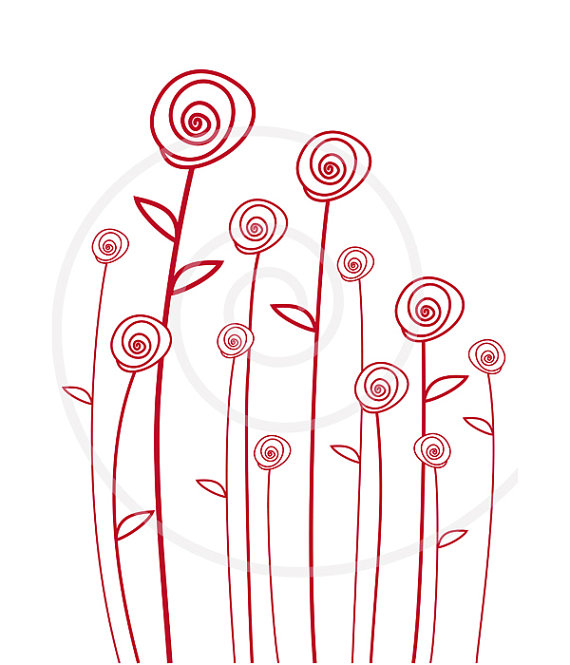 Red Flower clipart abstract #7