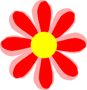 Red Flower clipart catoon #5