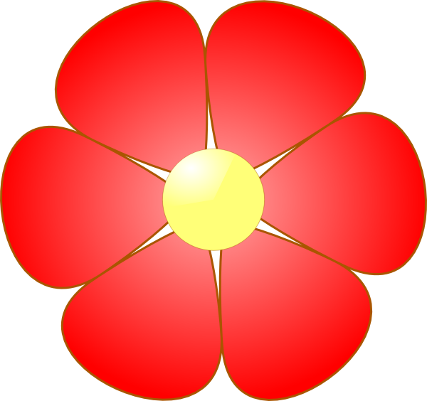 Red Flower clipart catoon #4