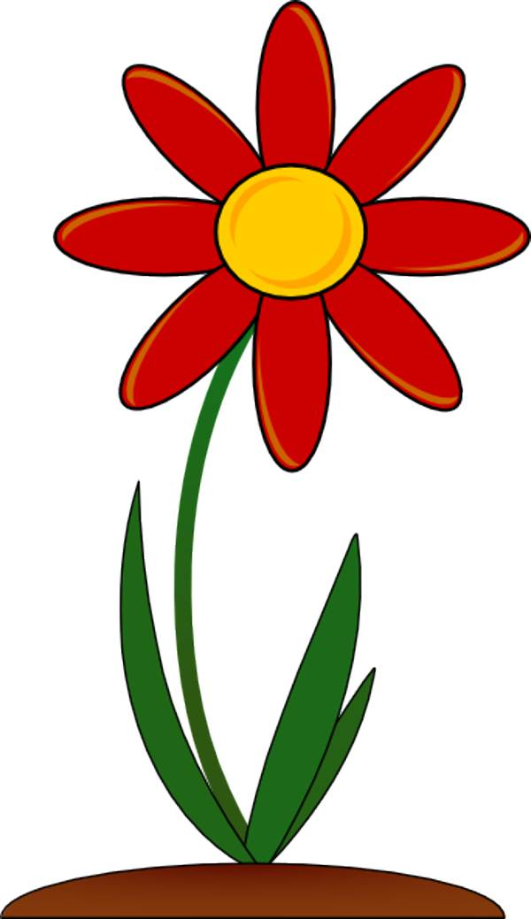 Red Flower clipart outline #6