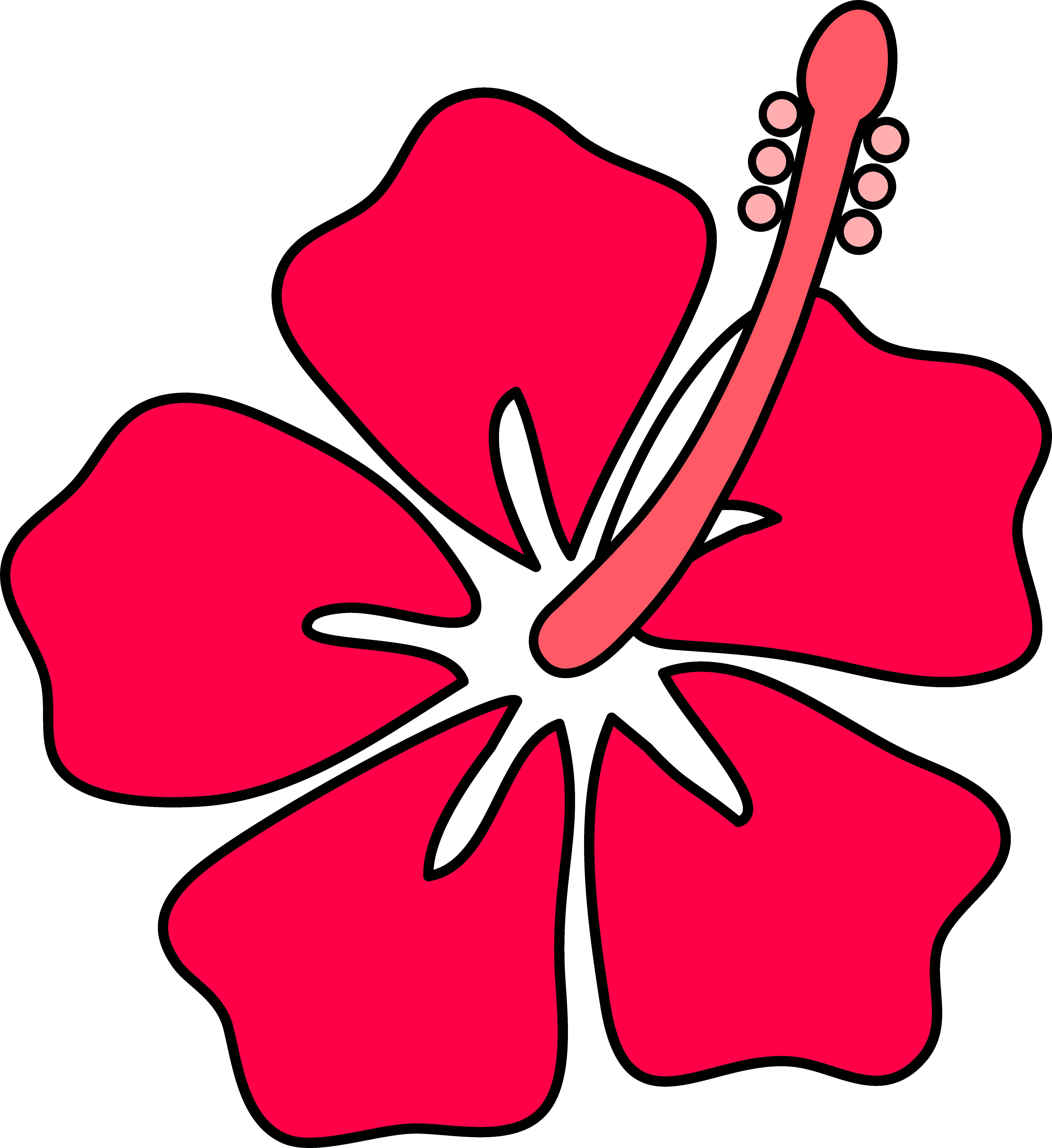 Red Flower clipart outline Outline Image at Flower Clker
