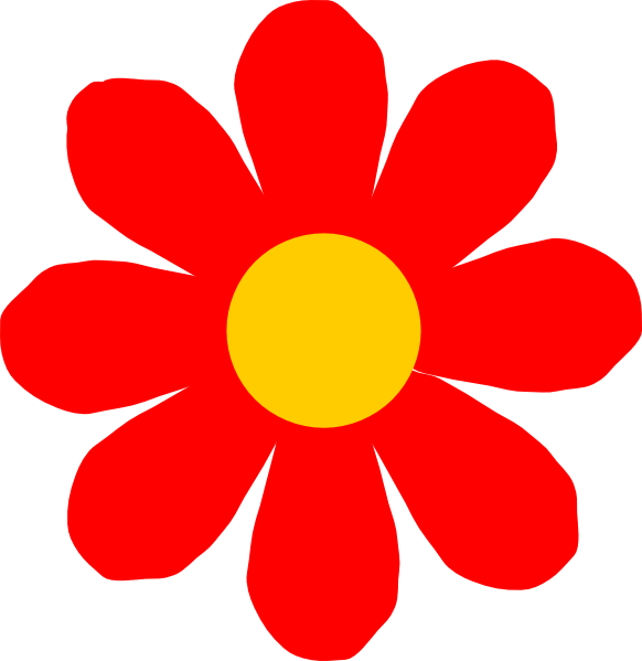 Red Flower clipart outline #4