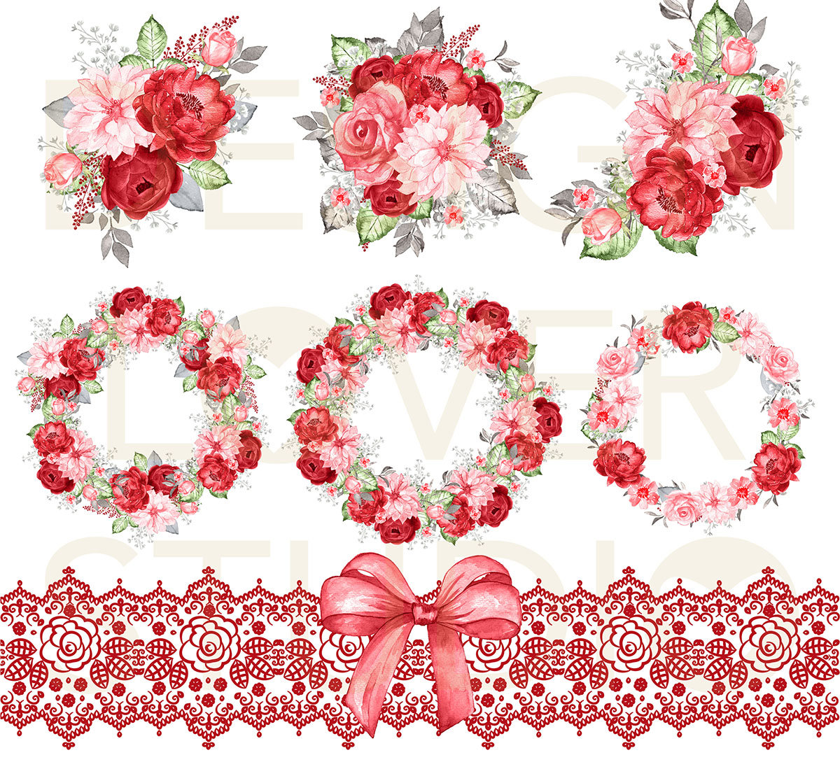 Red Flower clipart romance #13