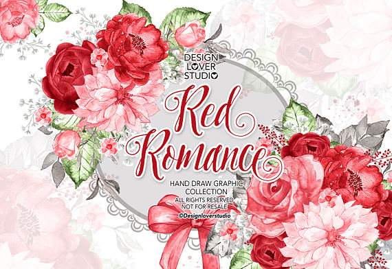 Red Flower clipart romance #11