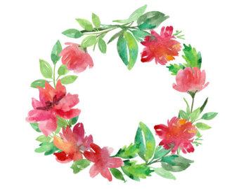 Red Flower clipart wreath #6