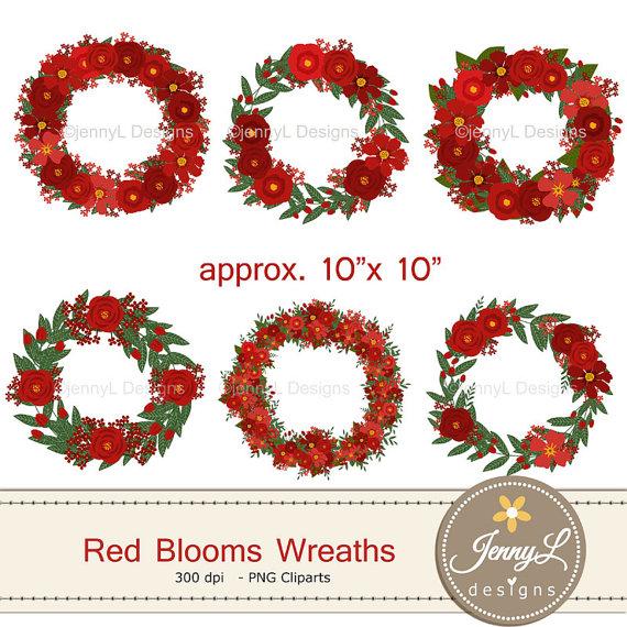 Red Flower clipart wreath #7