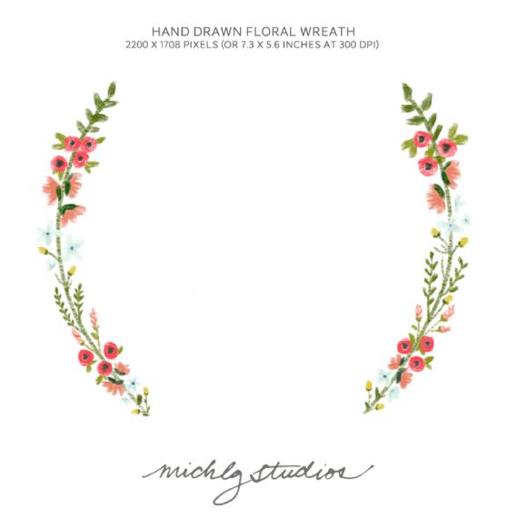 Red Flower clipart wreath #14