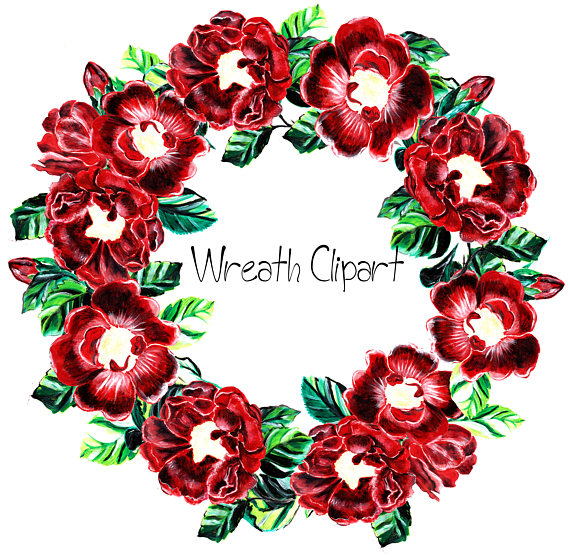 Red Flower clipart wreath #4