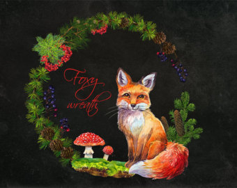 Red Fox clipart christmas #9