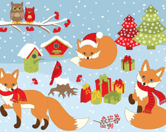 Red Fox clipart christmas #2