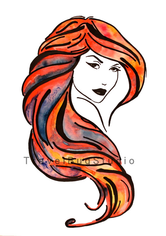 Red Hair clipart art Like Instant outline hair Woman