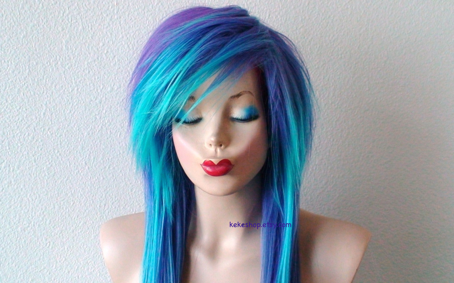 Red Hair clipart emo hair Straight side wig Teal/ wig