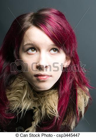 Red Hair clipart emo hair Girl red background csp3445447 Picture