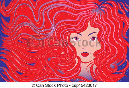 Red Hair clipart flowing hair Hair vector flowing beautiful hair