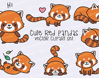 Red Panda clipart kawaii #2