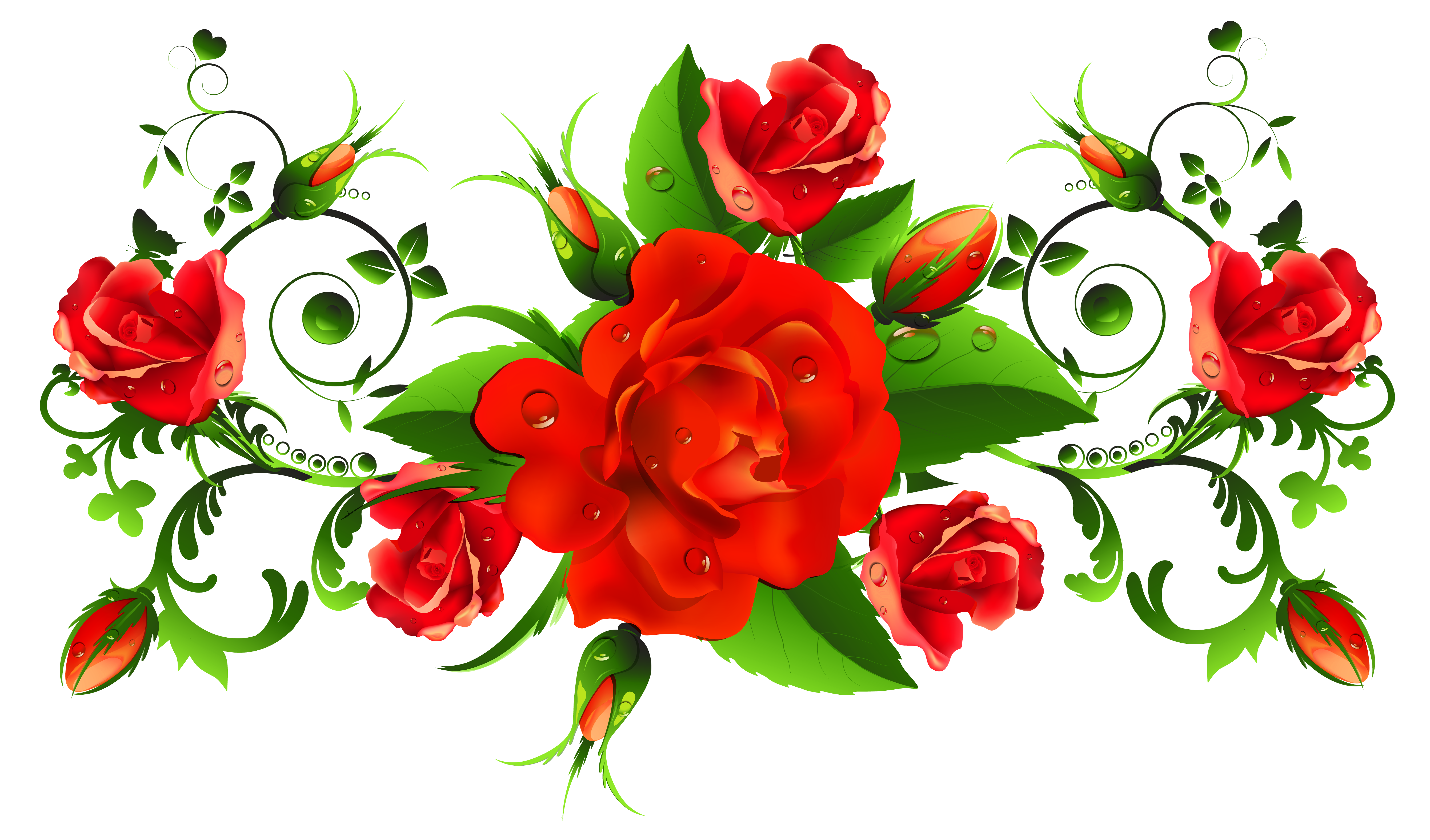 Red Rose clipart decorative #6