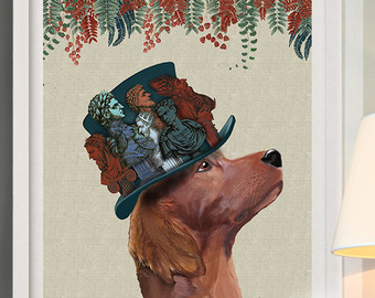 Irish Setter clipart Red decor dog Milliners Print