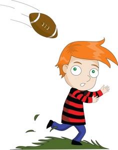 Football clipart catch Head Red head boy clipart