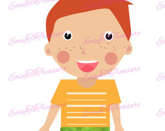 Redhead clipart child head Collection boy clipart Redheaded Etsy
