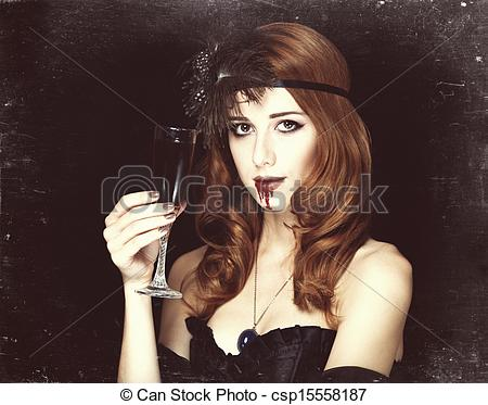 Redhead clipart glass Pictures vampire Photo vintage csp15558187
