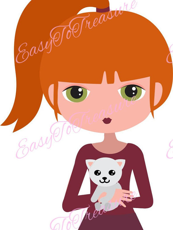 Redhead clipart laptop user Kitty Ponytail Download Cat JPEG