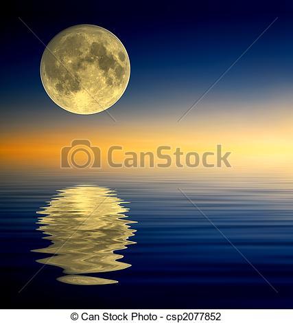 Moonlight clipart full moon Reflection moon Full Drawing of