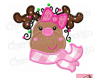 Reindeer clipart girly Applique Applique Etsy 6x6
