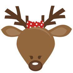 Reindeer clipart girly Christmas files svg cut Girl