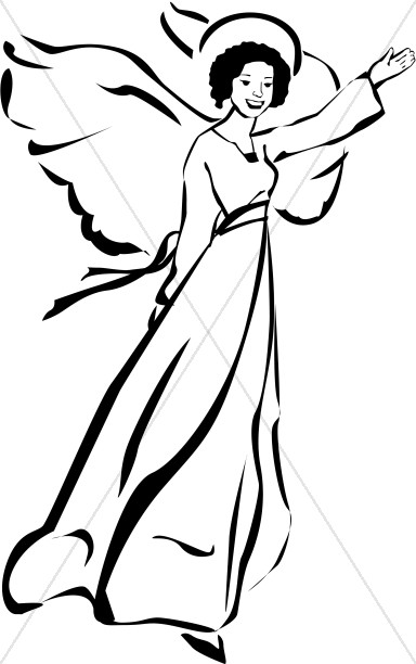 Angel clipart black and white Graphics Sharefaith Woman Angel Clipart