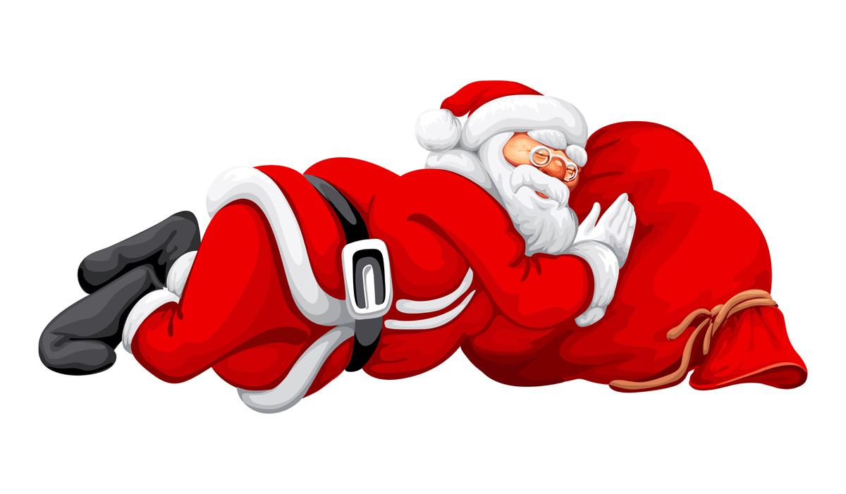 Santa clipart tired #1
